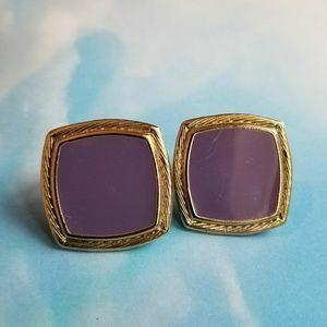 Vintage Purple Gold Tone Clip Earrings square